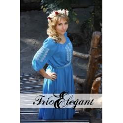 Creastă albastru- Rochie în stil Național