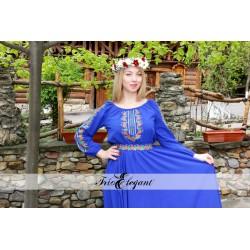 11 Trandafiri albastră- Rochie în stil Național