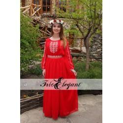 Creastă Roșie model 2- Rochie in stil Național