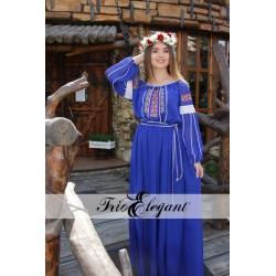 Rochie în stil Național-7 Trandafiri albastră NEW