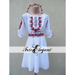 7 Trandafiri Albă pentru fetiță- Rochiță Națională Moldovenească